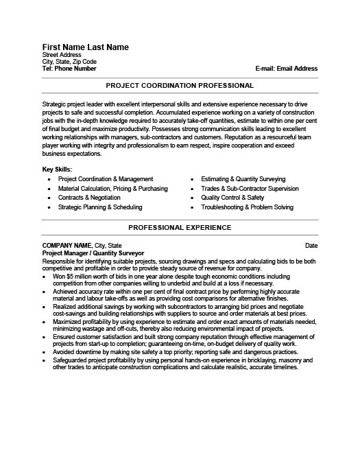 Project Manager Resume Template Premium Resume Samples  Example - project management resume templates