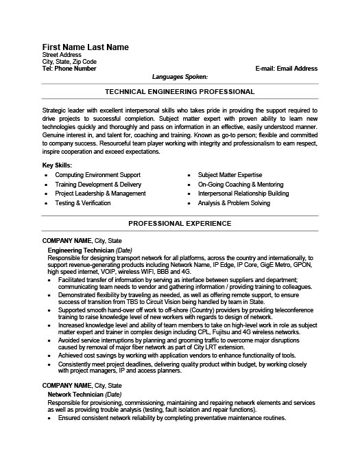 Engineering Technician Resume Template Premium Resume Samples - tech resume examples