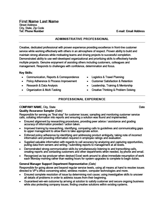 office professional resume template