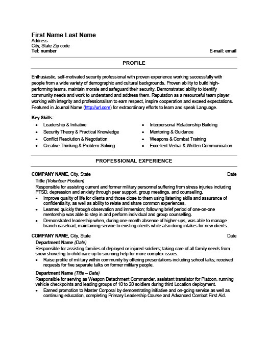 Military Resume Templates, Samples  Examples Resume Templates 101