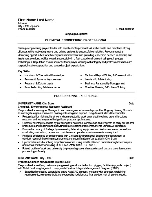 Chemical Engineer Resume Template Premium Resume Samples  Example - Engineer Resume Template
