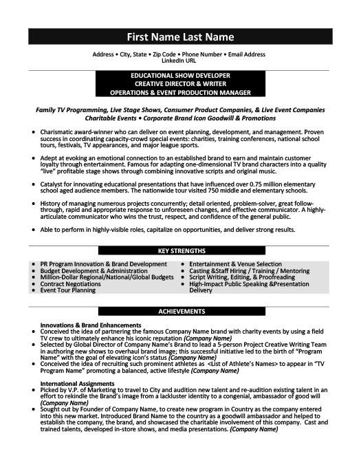 Educational Show Developer Resume Template Premium Resume Samples