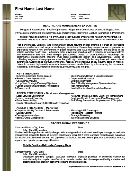 Health Care Management Executive Resume Template Premium Resume