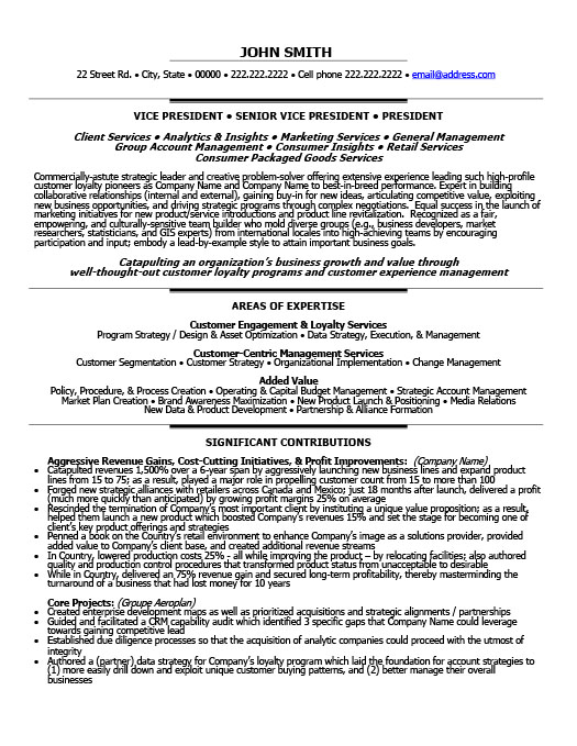 Senior Vice President - Loyalty Resume Template Premium Resume