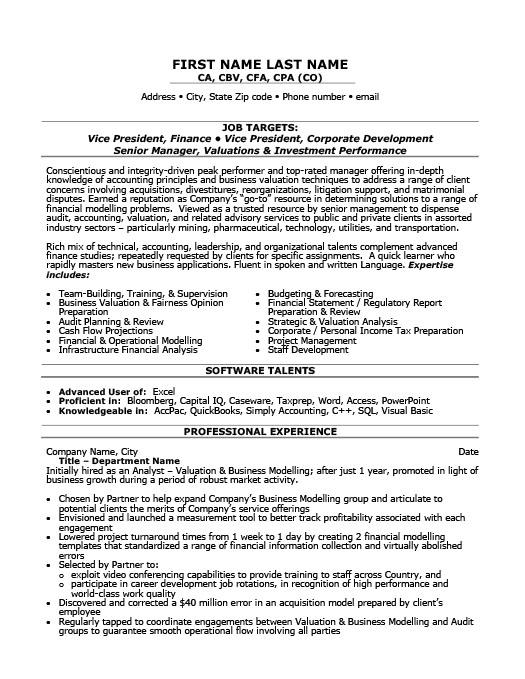 Vice President of Finance Resume Template Premium Resume Samples