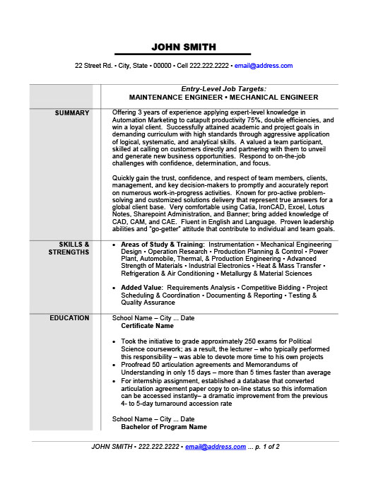 Maintenance or Mechanical Engineer Resume Template Premium Resume - engineering resume template