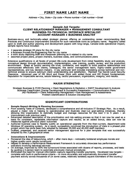 client relationship sample resume