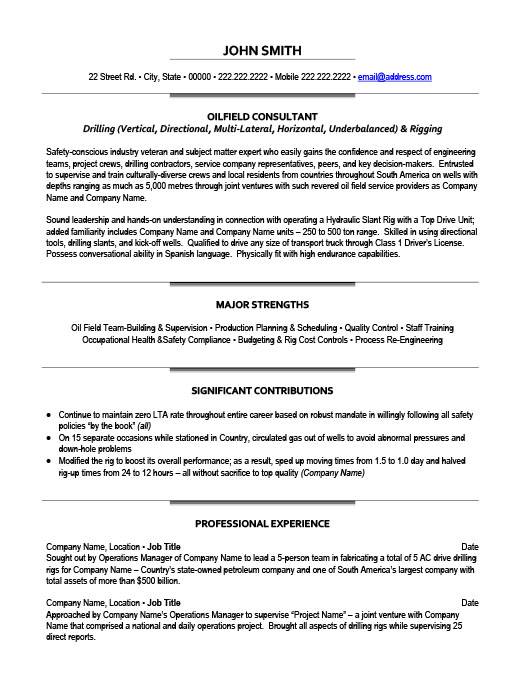 Oil and Gas Resume Templates, Samples  Examples Resume Templates 101 - Drill Rig Operator Sample Resume