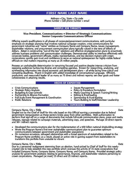 Public Relations Resume Templates, Samples  Examples Resume