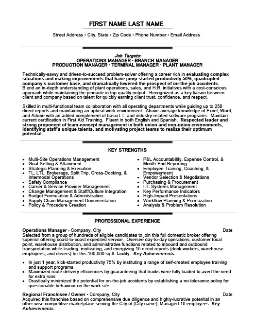 Operations Manager Resume Template Premium Resume Samples  Example