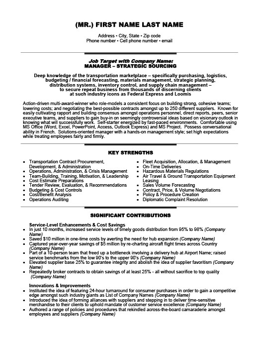 Transportation Resume Templates, Samples  Examples Resume