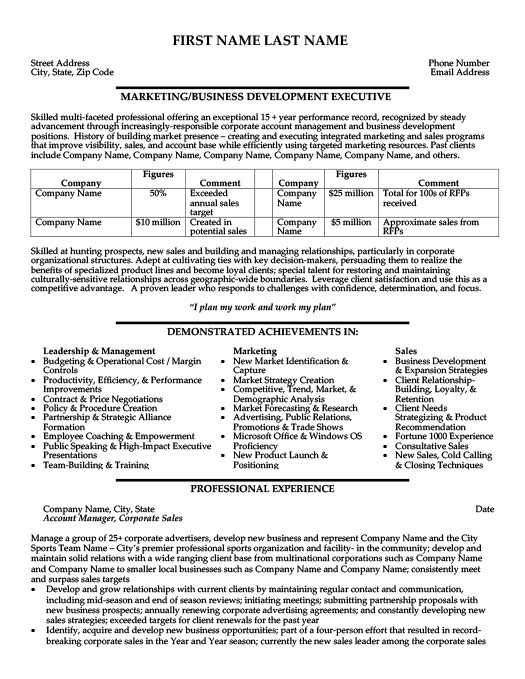 Business Development Executive Resume Template Premium Resume - Business Development Resume Samples