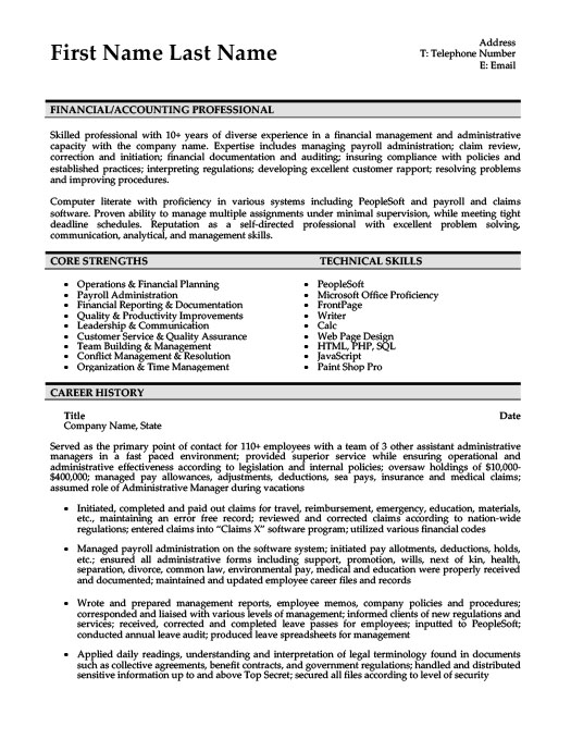 Accounting Resume Templates, Samples  Examples Resume Templates 101