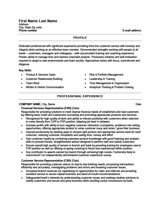 Financial Services Representative Resume Template Premium Resume