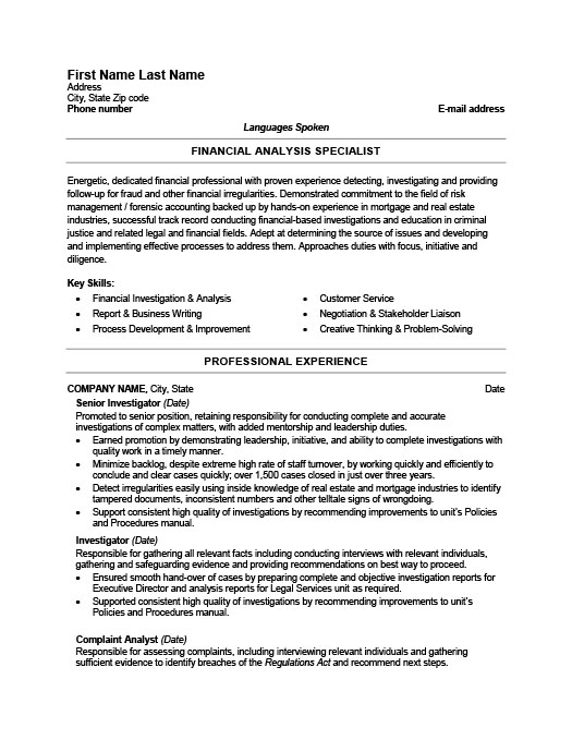 Fraud Detection Investigator Resume Template Premium Resume