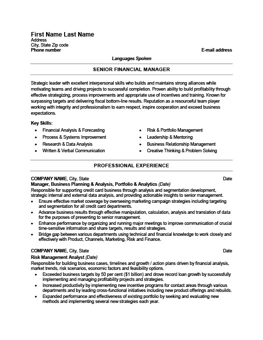 Senior Financial Manager Resume Template Premium Resume Samples