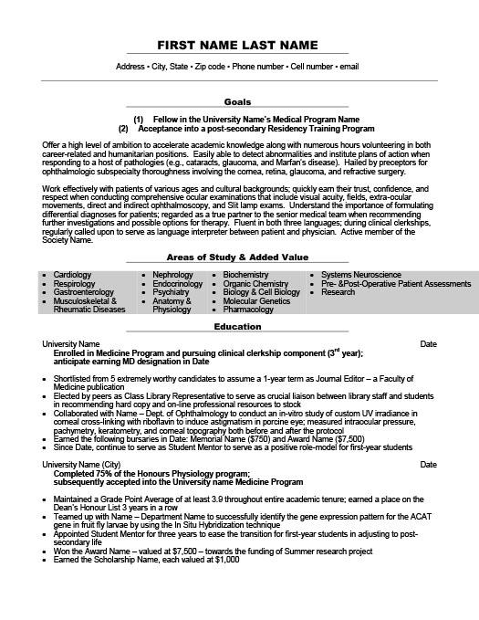 sample resume clerkship