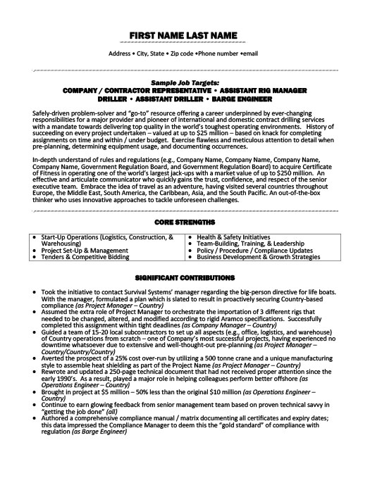 contracting officer representative resume sample
