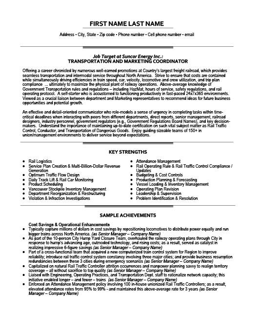 Transportation and Marketing Coordinator Resume Template Premium