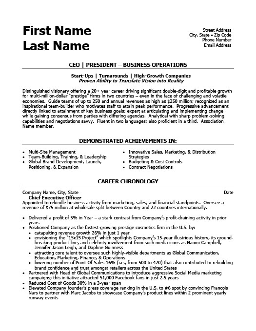 CEO President Resume Template Premium Resume Samples  Example - resume templates 101