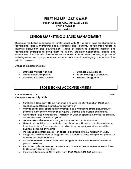 Senior Marketing and Sales Manager Resume Template Premium Resume