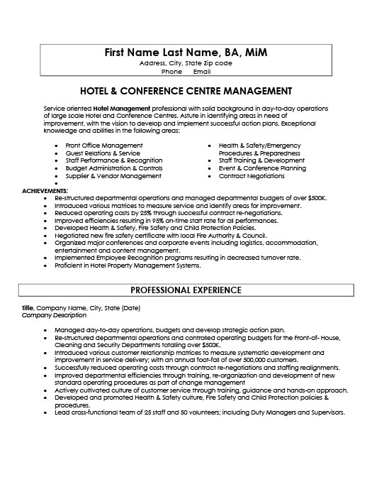 Hotel and Conference Centre Manager Resume Template Premium Resume - Conference Services Manager Sample Resume