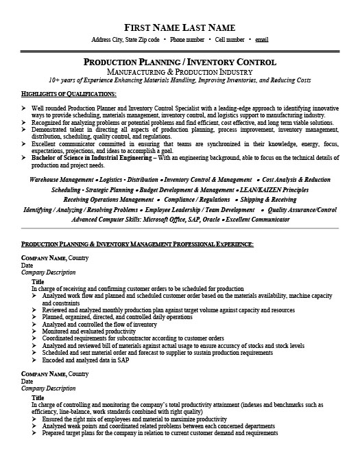 Production Planner or Inventory Controller Resume Template Premium - inventory resume samples