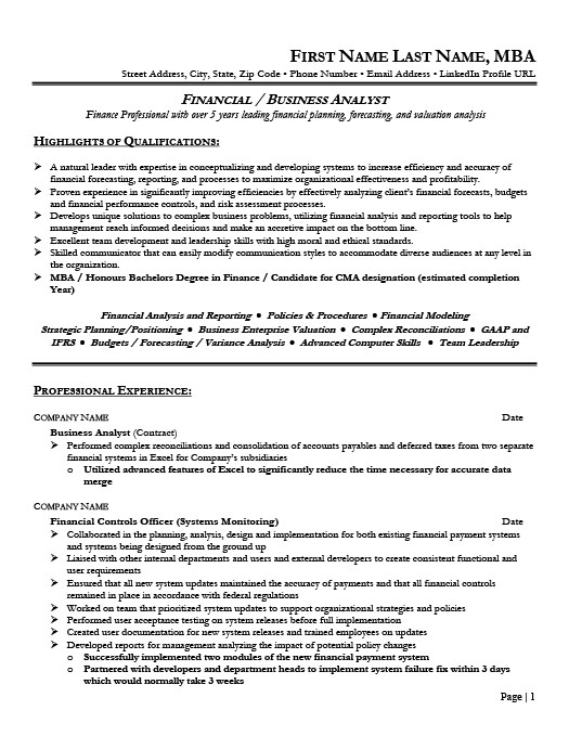 Financial Analyst Resume Example Entry Level Financial Analyst - sample financial analyst resume