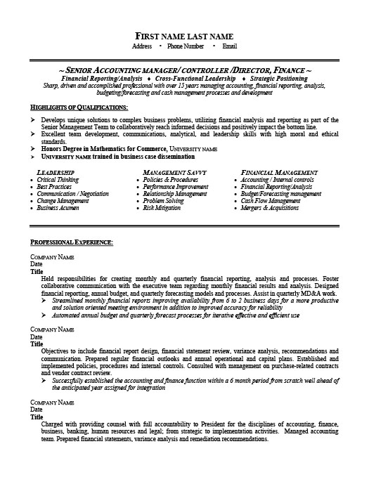 Senior Accounting Manager Resume Template Premium Resume Samples - Cpa Resume Examples