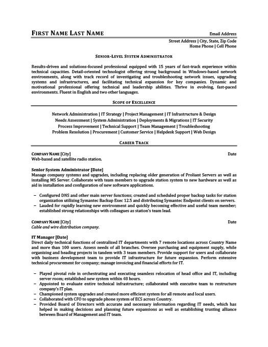 Senior-Level System Administrator Resume Template Premium Resume - administration resume template
