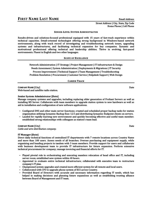 Senior-Level System Administrator Resume Template Premium Resume - membership administrator sample resume