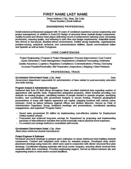 Engineering Professional Resume Template Premium Resume Samples