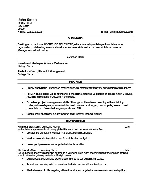 Financial Assistant Resume Template Premium Resume Samples  Example