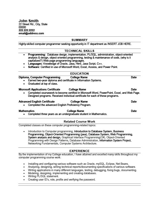 Computer Programmer Resume Template Premium Resume Samples  Example