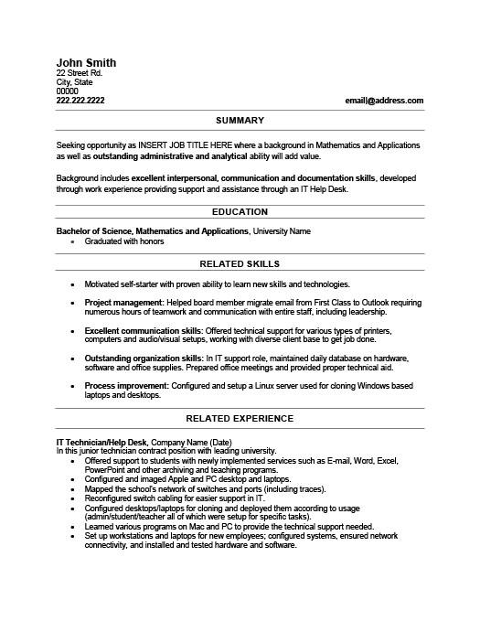 IT Technician Resume Template Premium Resume Samples  Example
