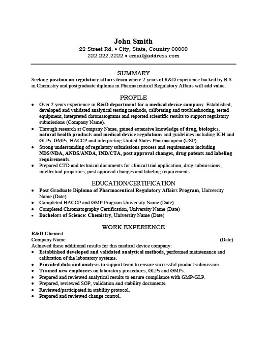 R and D Chemist Resume Template Premium Resume Samples  Example