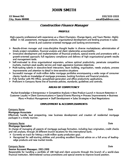 Construction Finance Manager Resume Template Premium Resume - finance manager resume sample