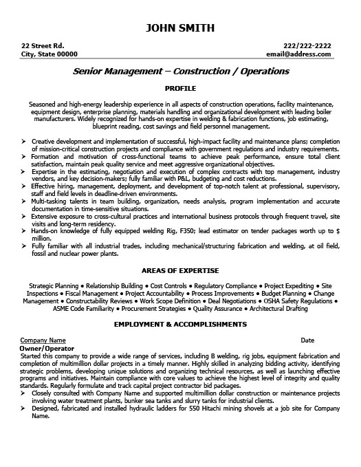 Owner or Operator Resume Template Premium Resume Samples \ Example - construction resume templates