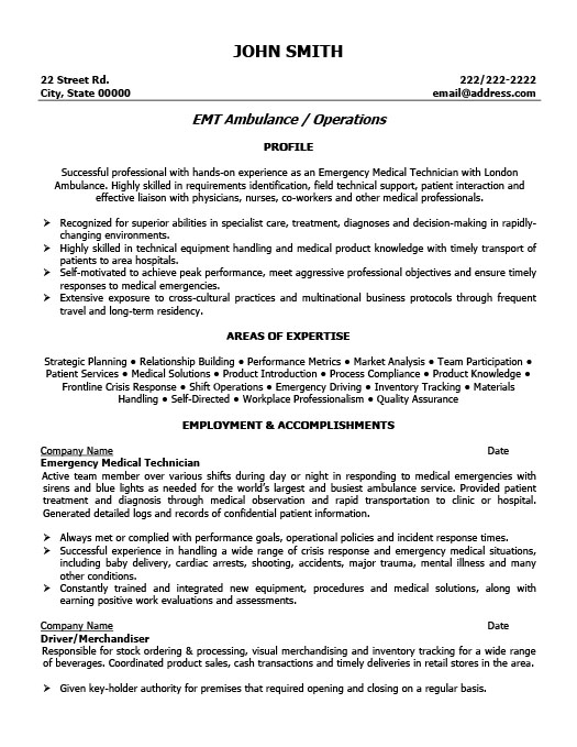 Emergency Medical Technician Resume Template Premium Resume - medical technician resume
