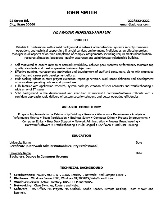 Network Administrator Resume Template Premium Resume Samples  Example