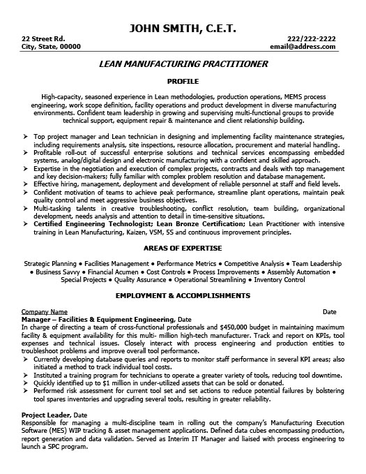 Lead Manufacturing Practitioner Resume Template Premium Resume - manufacturing resume samples
