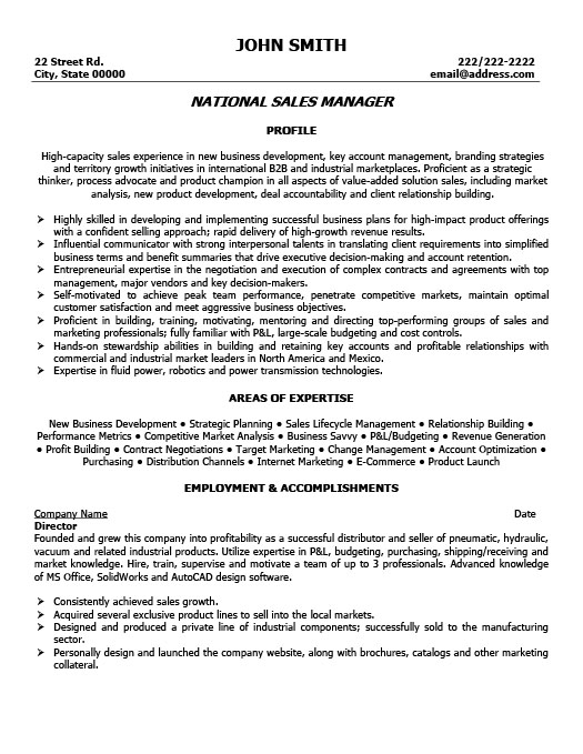 National Sales Manager Resume Template Premium Resume Samples - resume sales manager