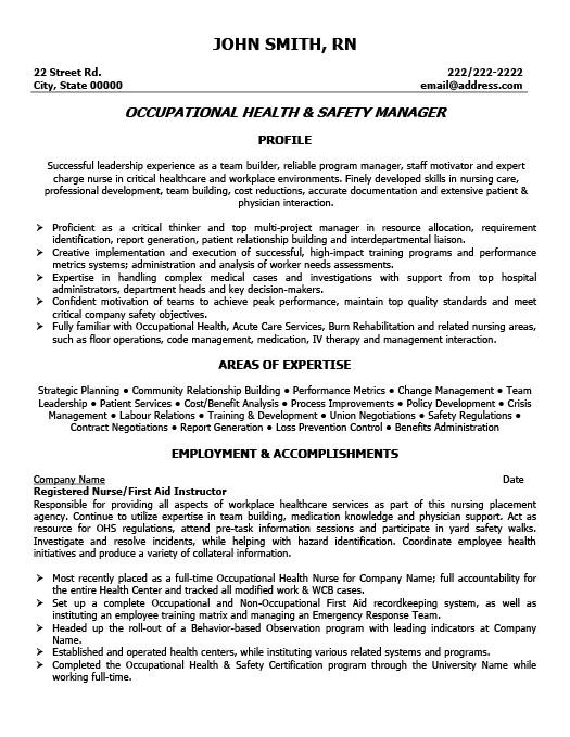 occupational safety and health supervisor resume sample