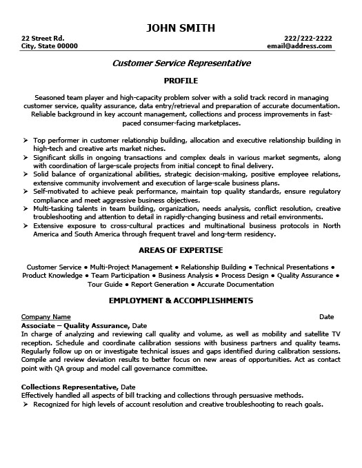 Customer Service Representative Resume Template Premium Resume