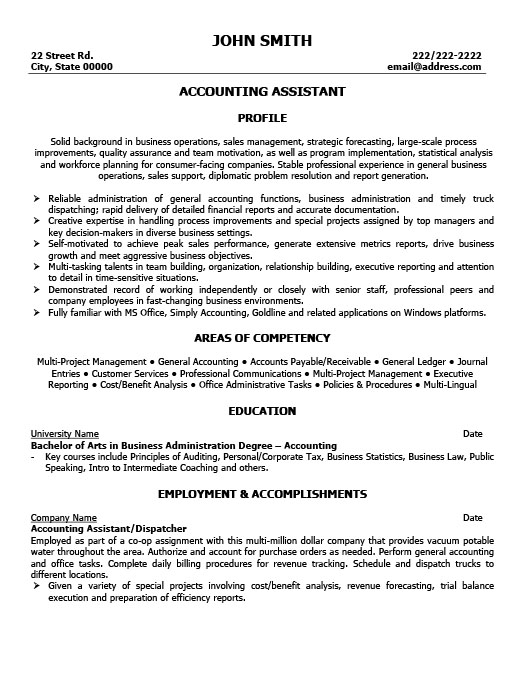 Accounting Assistant Resume Template Premium Resume Samples  Example