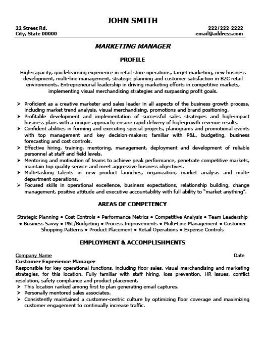 Marketing Manager Resume Template Premium Resume Samples  Example