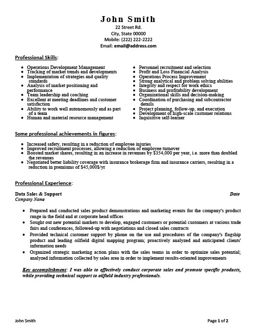 Sales and Support Assistant Resume Template Premium Resume Samples - resume template sales