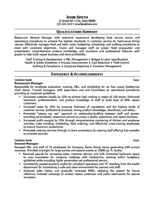 Restaurant Manager Resume Cover Letter restaurant manager resume
