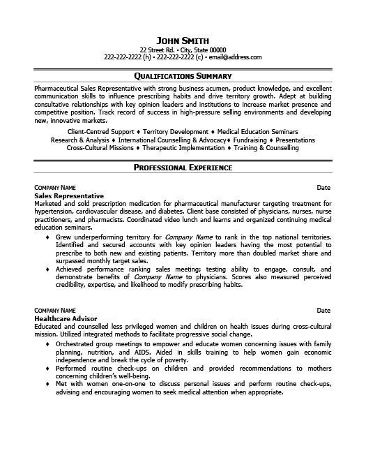 Sales Representative Resume Template Premium Resume Samples  Example