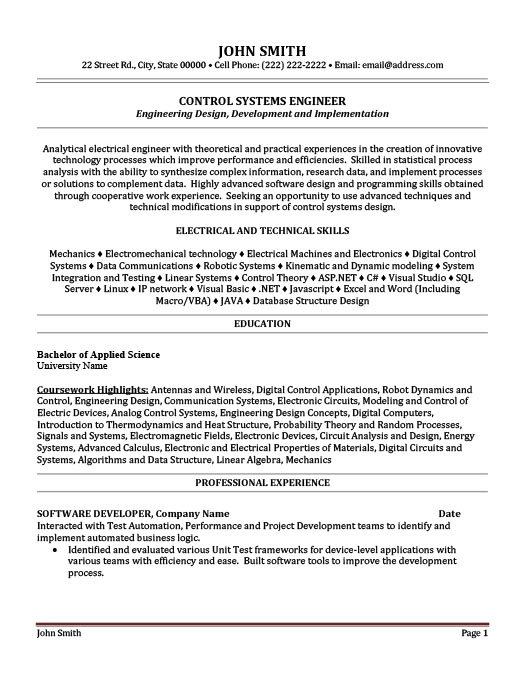 Control Systems Engineer Resume Template Premium Resume Samples - System Engineer Resume Sample